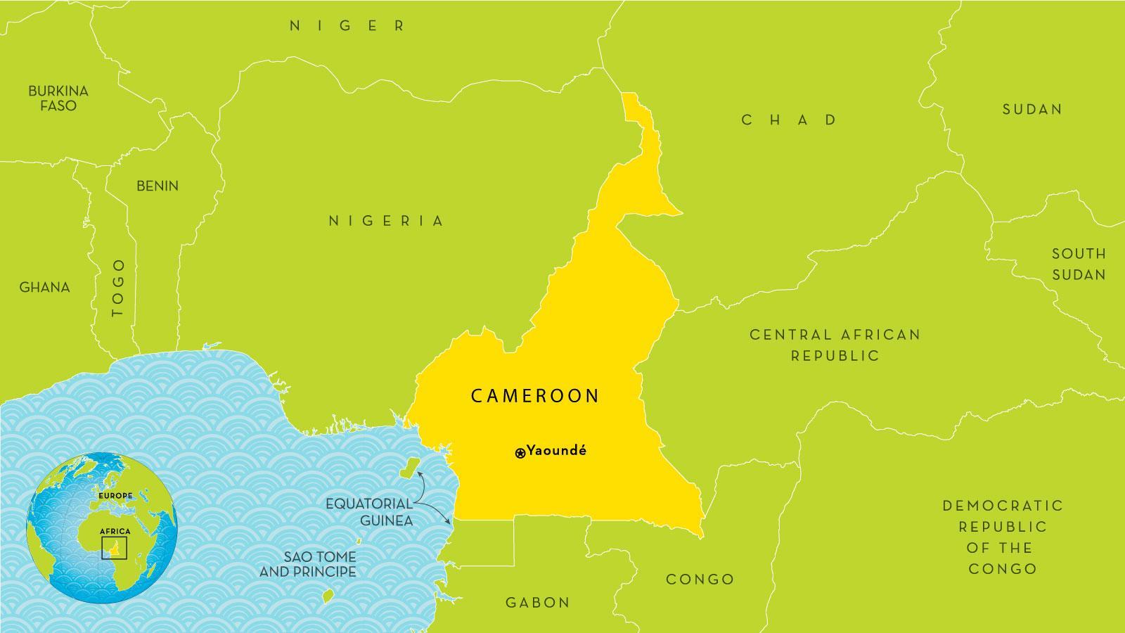 Cameroun Land Kort Kort Over Cameroun Og De Omkringliggende